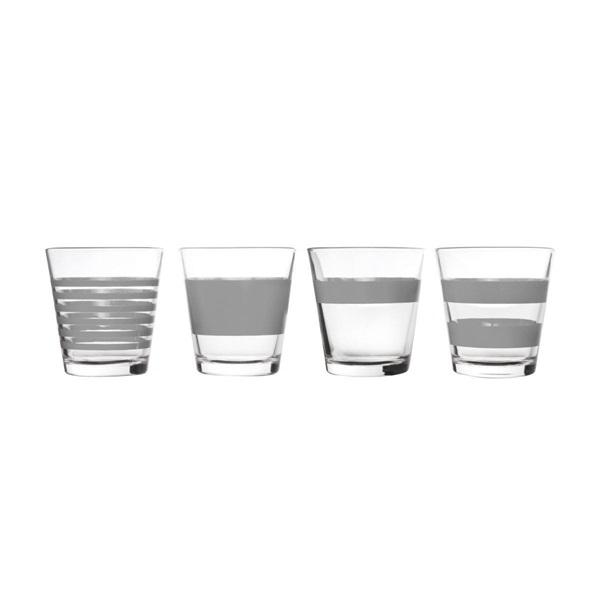 Salt en pepper lage glazen stripes grijs