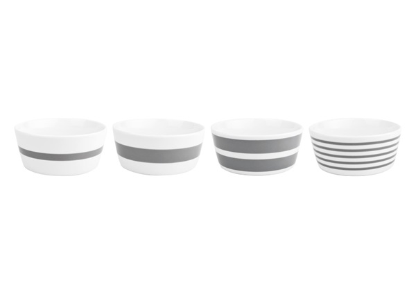 Salt en pepper bowls stripes grijs