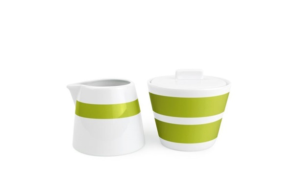 Salt en pepper green stripes melk en suikerpot