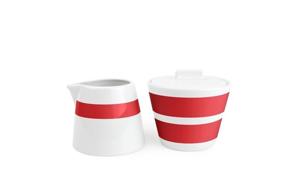 Salt en pepper melk en suikerpot red stripes