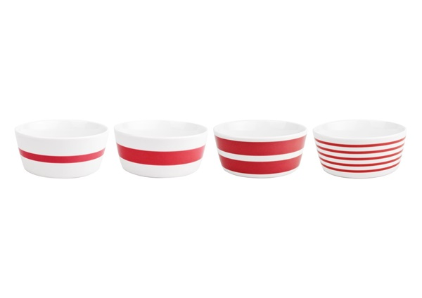 Salt en pepper bowl red stripes