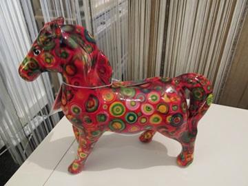 Pomme Pidou spaarpot paard rood