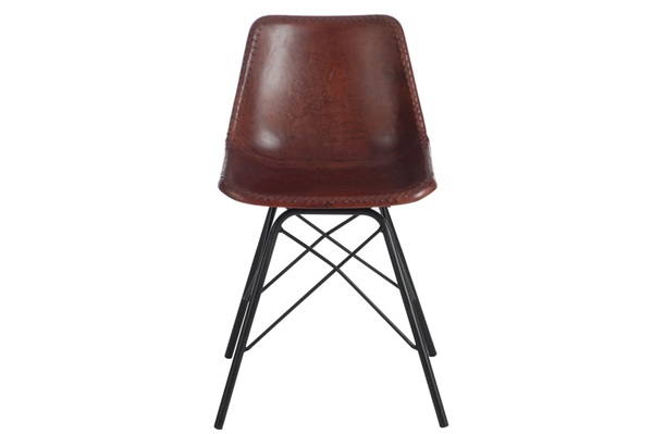 Afbeelding van J-line stoel donkerbruin leder