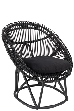 Afbeeldingen van J-line stoel zwart met kussen