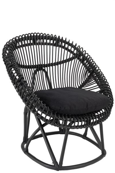 Afbeelding van J-line stoel zwart met kussen