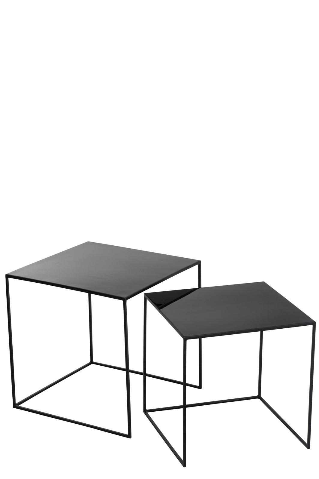 Bijzettafel Zwart Vierkant.J Line Set 2 Bijzettafels Vierkant Blinkend Zwart Geschenken Denruyter
