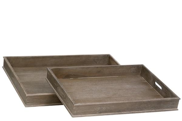 J-line set 2 dienbladen hout grijs
