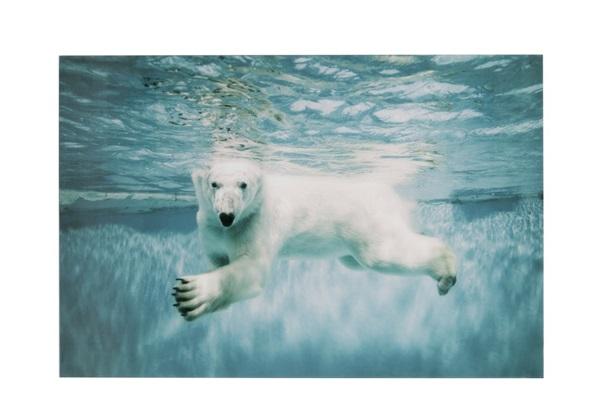 J-line glazen paneel ijsbeer schilderij