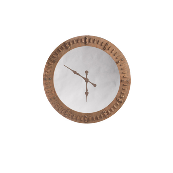 J-line klok spiegel met hout