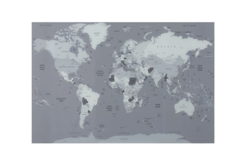 J-line wereldkaart grijs