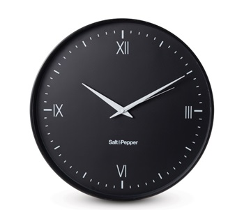 salt and pepper CLOCK 45CM BLACK PRAHRAN ZONE
