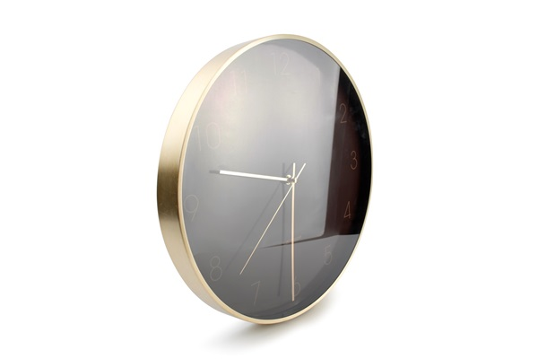 salt and pepper WALL CLOCK 31 CM BROWN WITH FRAME GOLD ZONE