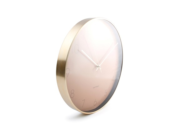 WALL CLOCK 40CM PINK WITH FRAME GOLD ZONE salt and pepper