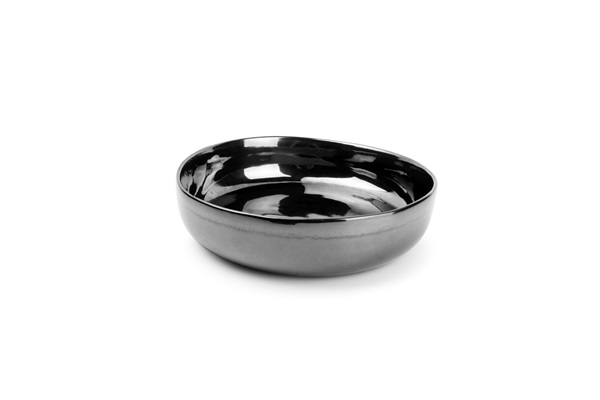 DIEP BORD 21,5XH5,5CM ZWART BLACK&GOLD DEEP PLATE salt and pepper